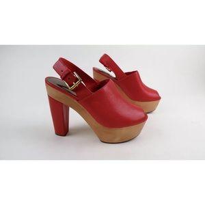 Coach Petrina orange red leather wool clogs